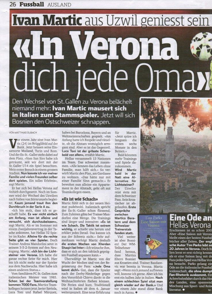Sonntagsblick - In Verona kennt dich jede Oma - 25.01.2015