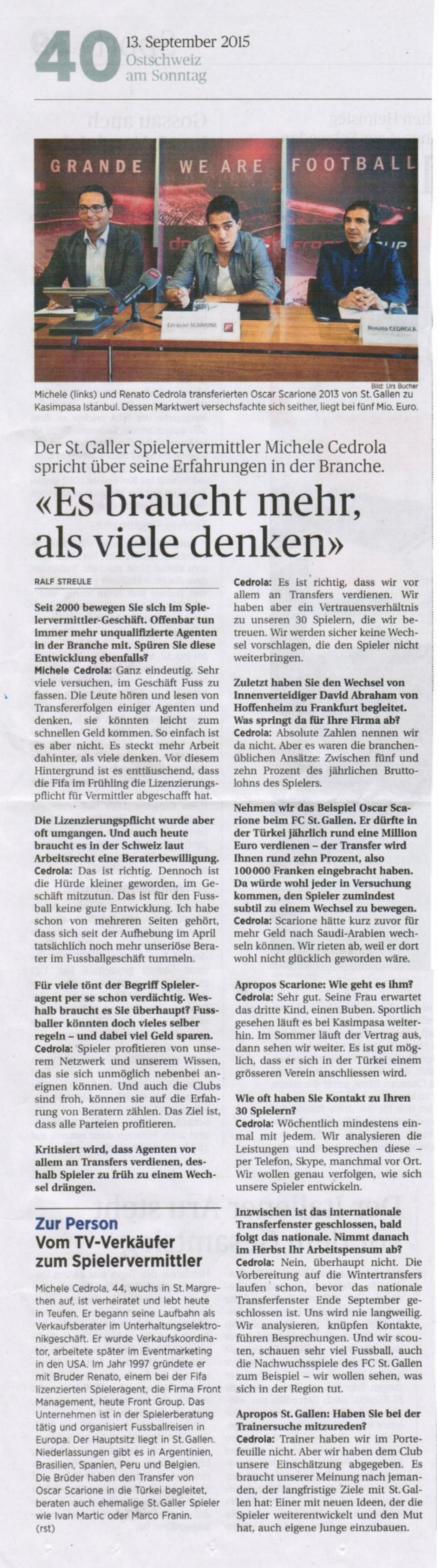 Ostschweiz am Sonntag - Es braucht mehr als viele denken - 13.09_001