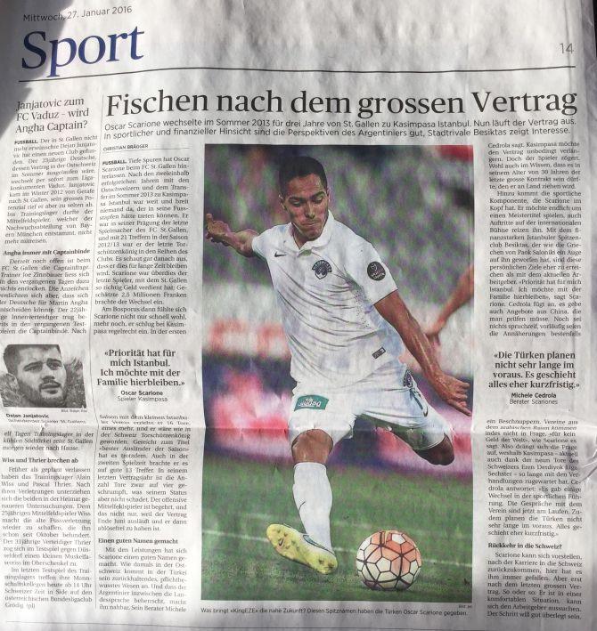 Tagblatt - Fischen nach dem grossen Vertrag - 27-01-2016